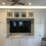 TV area in white kitchen
