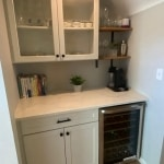 bar with white counters